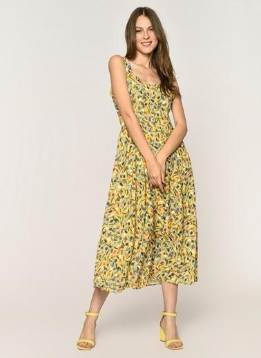 5c3159ffb77d1 Loves You Önden Düğmeli Şifon Emprime Elbise Sarı ...
